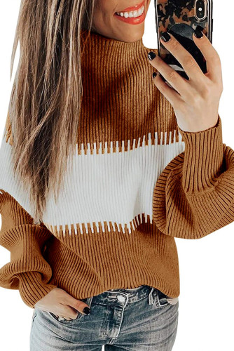 Brown Color Block High Neck Pullover Sweater LC272174-17
