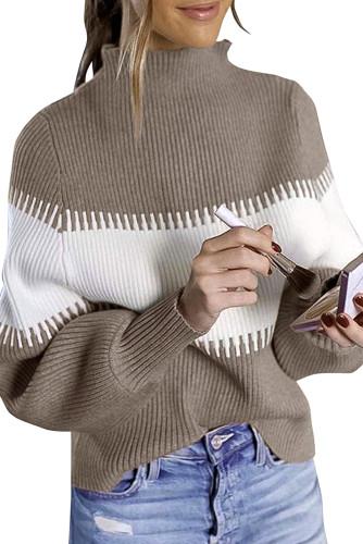 Khaki Color Block High Neck Pullover Sweater LC272174-16