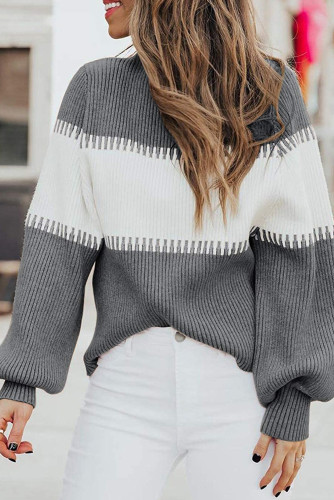 Gray Color Block High Neck Pullover Sweater LC272174-11