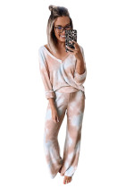 Multicolor Deep V-neck Dropped Shoulder Tie-dye Pajama Set LC451049-22
