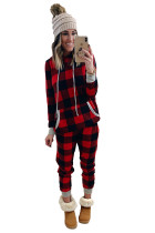 Red Plaid Pocket Drawstring Christmas Hooded Lounge Sets LC62588-3