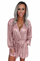 Eye-candy Sequin Pocketed Tie Romper LC64956-10