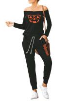 Black Halloween Jack-O-lantern Print Jumpsuit LC641091-2