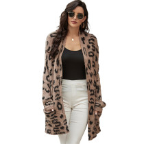 Brown Leopard Print Front Open Pocketed Cardigan TQK271158-17