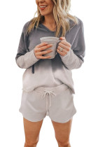 Gray Dip Dye Hooded Lounge Sweatshirt Shorts Set LC45068-11