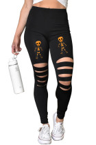 Cut-out Skeleton Print Halloween Leggings LC76052-14