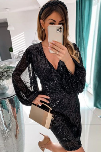 Black Deep V Neck Lantern Sleeve Sequin Dress LC221648-2