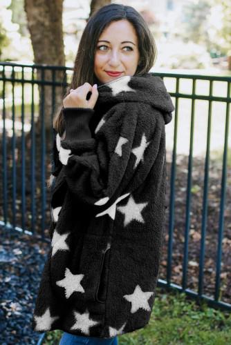 Black Lapel Collar Scatter Star Fuzzy Coat LC851325-2