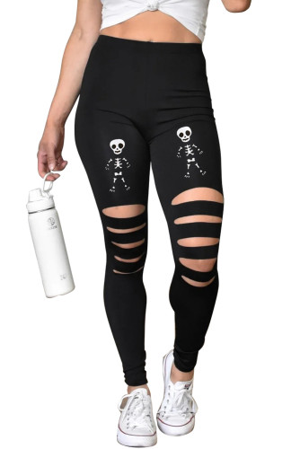 Black Cut-out Skeleton Print Halloween Leggings LC76052-2