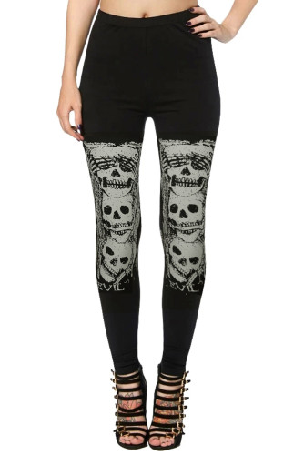 Black High Waist Skull Print Halloween Leggings LC76067-2