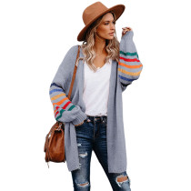 Gray with Multicolor Long Sleeve Cardigan TQK271165-11