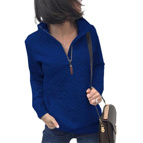 Blue Half Zip Kangroo Pocket Sweatshirt TQK230028-5