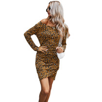 Brown Off the Shoulder Long Sleeve Dress TQK310397-17
