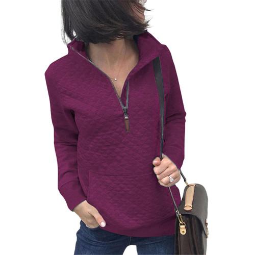 Purplish Red Half Zip Kangroo Pocket Sweatshirt TQK230028-32