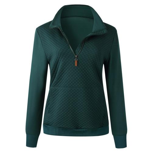 Dark Green Half Zip Kangroo Pocket Sweatshirt TQK230028-36