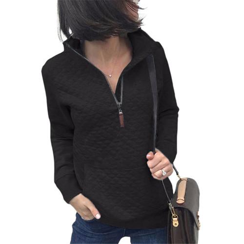 Black Half Zip Kangroo Pocket Sweatshirt TQK230028-2