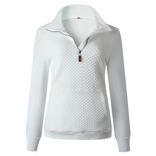 White Half Zip Kangroo Pocket Sweatshirt TQK230028-1