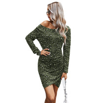 Army Green Off the Shoulder Long Sleeve Dress TQK310397-27
