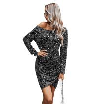Gray Off the Shoulder Long Sleeve Dress TQK310397-11