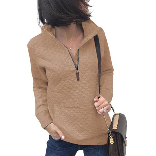 Apricot Half Zip Kangroo Pocket Sweatshirt TQK230028-18