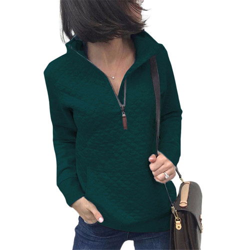 Dark Green Half Zip Kangroo Pocket Sweatshirt TQK230028-36