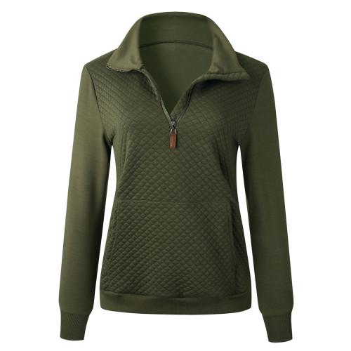 Army Green Half Zip Kangroo Pocket Sweatshirt TQK230028-27