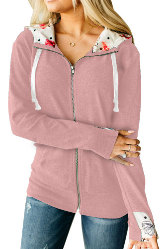 Pink Full Zip Hoodie Coat with Floral Print Hooded Inner LC851326-10
