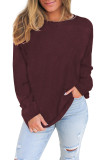 Wine Plain Knit Long Sleeve Top LC2532678-3