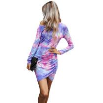 Pink Purple Pleated Tie Dye Long Sleeve Dress TQK310398-10