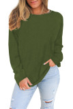 Green Plain Knit Long Sleeve Top LC2532678-9