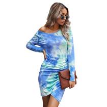 Aquamarine Pleated Tie Dye Long Sleeve Dress TQK310398-45