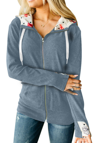 Gray Full Zip Hoodie Coat with Floral Print Hooded Inner LC851326-11