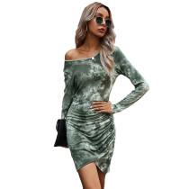 Army Green Pleated Tie Dye Long Sleeve Dress TQK310398-27