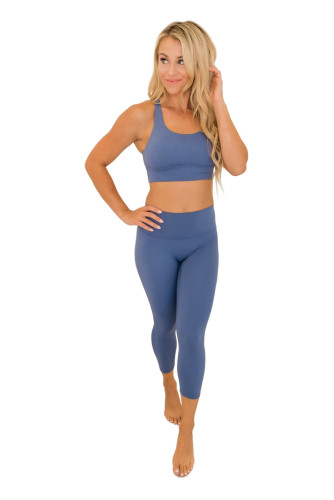 Blue Crisscross Back Sports Bra Leggings Set LC261068-5