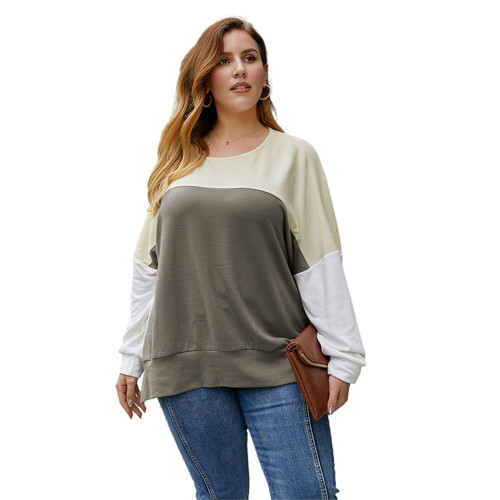 Khaki Contrast Long Sleeve Plus Size Tops TQK210492-21