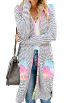 Tie-dye Patchwork Long Striped Cardigan with Pockets LC254050-22