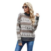 Khaki Christmas Reindeer Print Knit Pullover Sweater TQK271173-21
