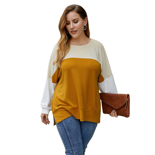 Yellow Contrast Long Sleeve Plus Size Tops TQK210492-7