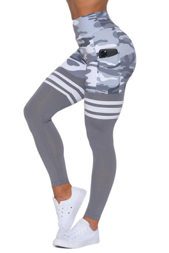 Gray Camo Print Striped Sport Pants LC263093-11