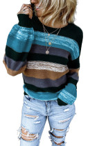 Blue Color Block Highlight Balloon Sleeve Sweater LC272115-5
