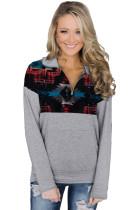 Gray Turn Down Collar Zip Tribal Print Sweatshirt LC2532112-11