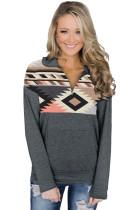 Turn Down Collar Zip Tribal Print Sweatshirt LC2532112-1011