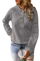 Gray Solid Color Button Casual Hoodie LC2531587-11