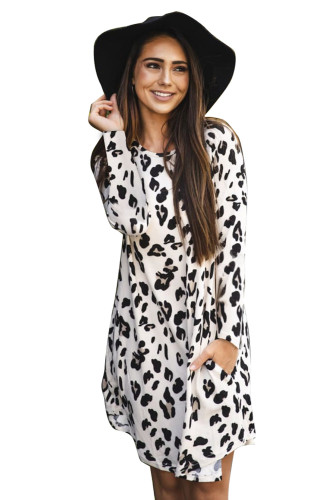 Leopard 3/4 Sleeve Pocketed Mini Dress LC222511-20