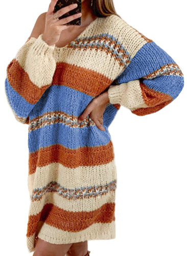 Multicolor Color Block Cable Knit Sweater Dress LC273020-22