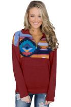 Red Turn Down Collar Zip Tribal Print Sweatshirt LC2532112-3