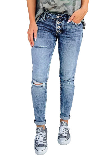 Blue Hollow Out Button-fly Distressed Jeans LC78264-5