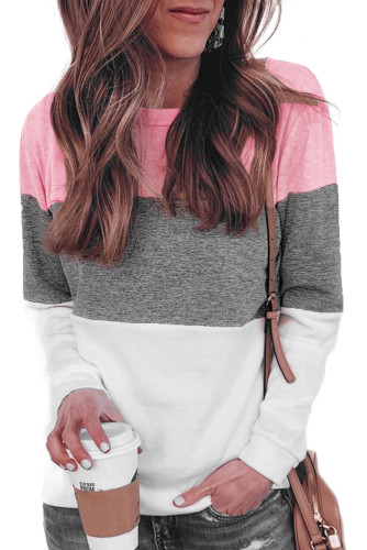 Multicolor Round Neck Long Sleeve Color Block Top LC2512590-22