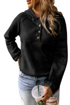 Black Solid Color Button Casual Hoodie LC2531587-2