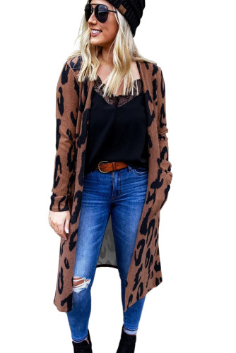 Brown Leopard Print Open Front Cardigan with Pockets LC254097-20